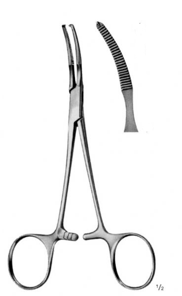 BABY-MIKULICZ Peritoneal Forceps 1:2 Teeth Curved 14 cm