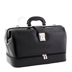 Elegant Doctors Leather Bag in Black