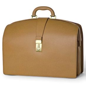 Doctors Briefcase in Firm Grain Embossed Leather - Tan