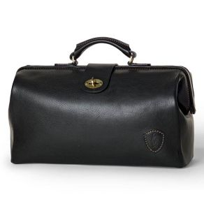 Doctors Briefcase in Firm Grain Embossed Leather - Black