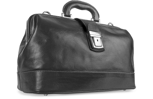Doctor's Leather Medical Bag in Black - Tuscany