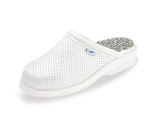 Unisex Nurses White Leather Mule