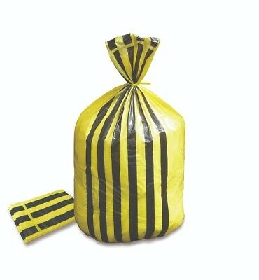Yellow Clinical Waste Tiger Stripe Bag  Box of 200