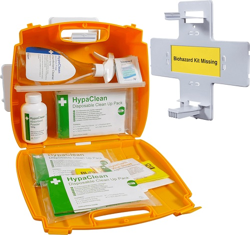 Body Fluid Disposal Kits with Shelves and Wall brackets
