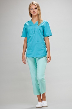 Womens Scrub Tunic Short Sleeve With Side Slits in Turquoise