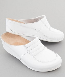 Womens Nursing Shoes in White Leather