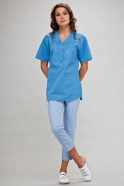 Womens Scrub Tunic Short Sleeve With Side Slits in Azure