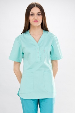 Womens Scrub Tunic Short Sleeve With Side Slits
