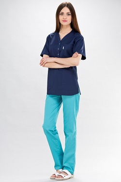 Womens Scrub Tunic Short Sleeve With Side Slits in Navy Blue
