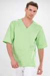 Short Sleeve V-Neck Medical Scrub Tunic For Men In Lime Green