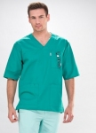 Short Sleeve V-Neck Medical Scrub Tunic For Men In Green
