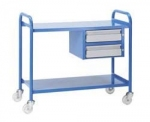 2 Tier Steel  Medical Trolley with Double Drawers