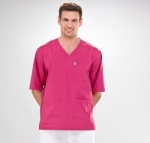Short Sleeve V-Neck Medical Scrub Tunic For Men In Pink