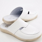Mens White Leather Mule